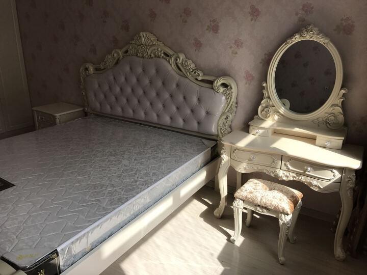 尊范(ZUF) 床 欧式床 1.8米双人床  主卧室家具雕花公主婚床田园皮床 皮床尾+床头柜*2+床垫+梳妆台+凳 1800*2000排骨架 晒单图