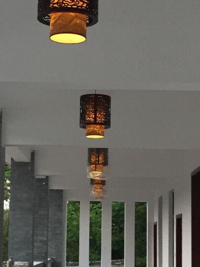 富想(FUXIANG) 富想中式餐厅吊灯实木仿古羊皮灯茶楼酒店过道单头玄关吊灯阳台灯笼 黄皮荷花 带5WLED光源 晒单图