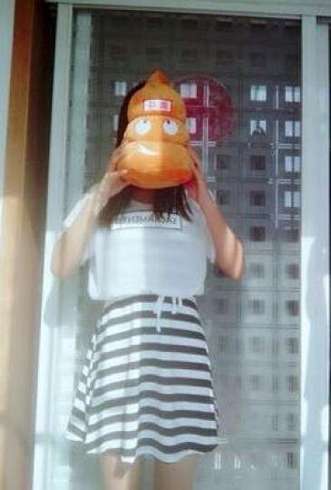 知二杏 两件套连衣裙女套装学生韩版2018新品夏装新款短袖雪纺衫显瘦条纹宽松修身型字母印花 黑色小姑娘 XL 晒单图
