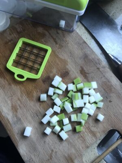 多功能切菜器厨房刀具器擦土豆胡萝卜片刨蔬菜水果沙拉切丁机 绿色 晒单图
