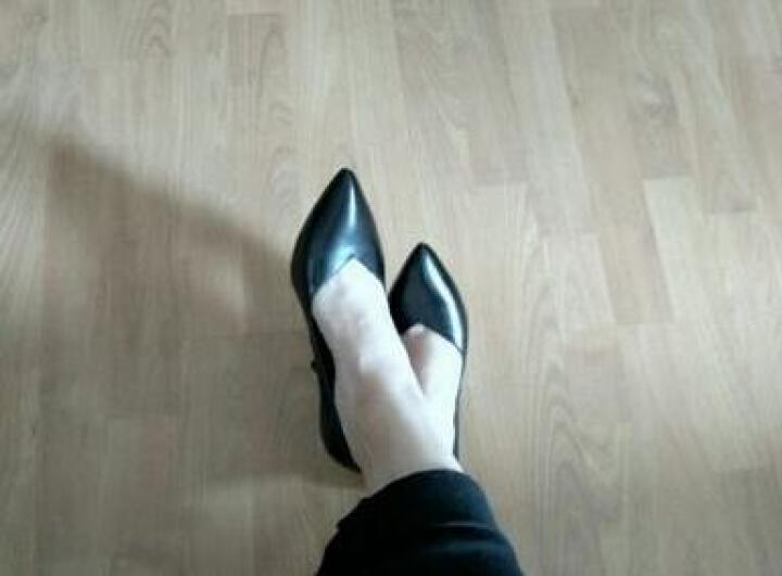 辣椒衣社新款高跟鞋牛皮尖头单鞋高跟职业OL通勤细跟工作鞋2522 黑色 38 晒单图