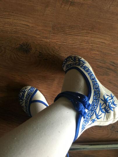 新款中国风青花瓷绣花布鞋大童女单鞋民族风绣花舞蹈鞋 绿色 36码 晒单图