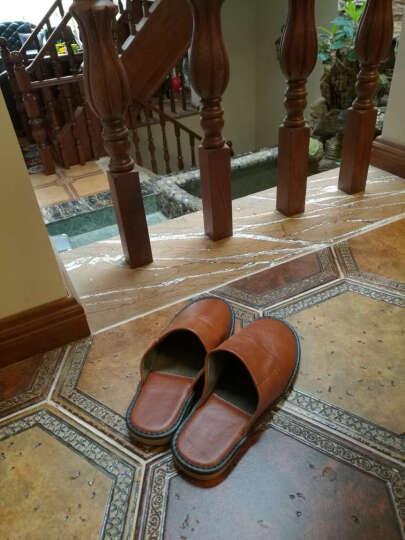 范米尼 牛皮春秋季拖鞋男士女式 包头老人居家木地板室内拖 真皮家居拖防滑猪皮内里 508 大红 36-37码(25CM) 晒单图