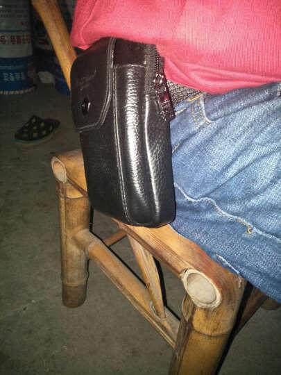 金珊瑚牛皮腰包男三星5寸5.3寸5.5寸5.7寸大屏男士手机包穿皮带竖款腰包手机套3839 黑色小号 晒单图