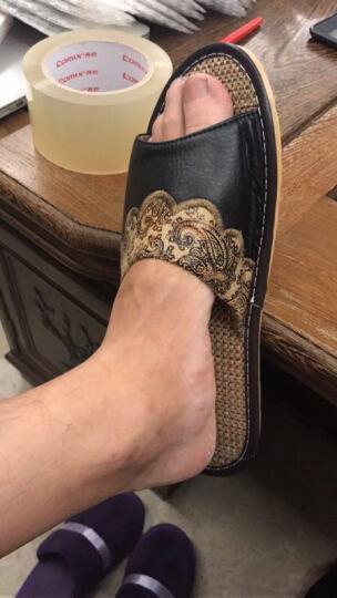 莎玛(sama)真皮拖鞋亚麻时尚民族风绣花防滑家居男女情侣头层牛皮拖鞋 绿色 26cm(适合37/38) 晒单图