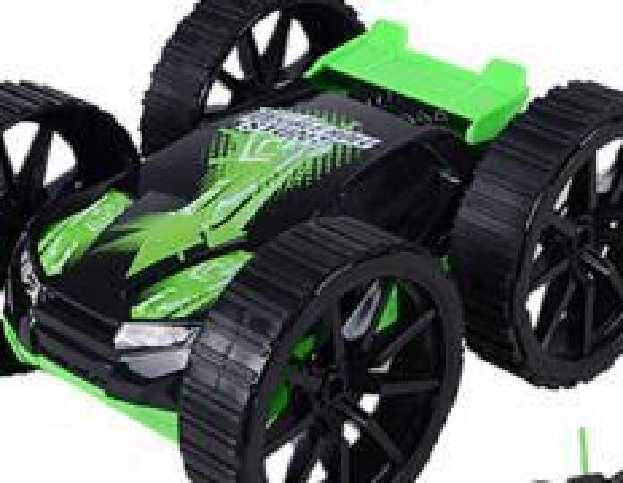 五轮特技车六通变形翻斗车花式醉步特技车儿童玩具翻转越野遥控汽车 4轮翻滚车绿色 晒单图
