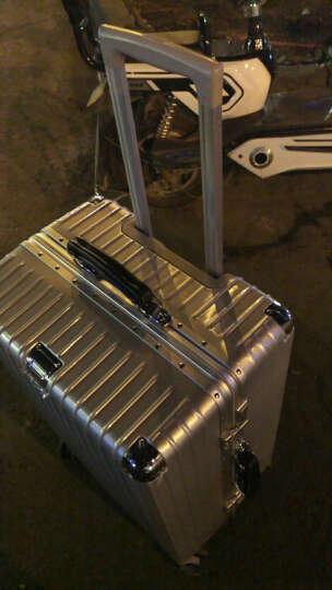 【皮把手】 旷奇20英寸拉杆箱万向轮行李箱男学生铝框24旅行箱包密码箱女结婚箱子皮箱登机箱 奢华银 24英寸/需托运 晒单图