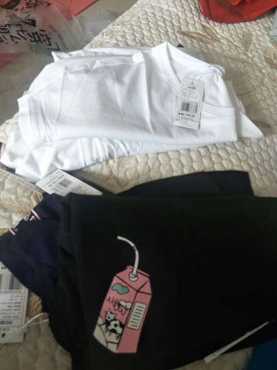 森马短袖T恤 2017夏装新款 女宽松韩版纯棉印花圆领套头不对称T恤 粉红6020 XL 晒单图