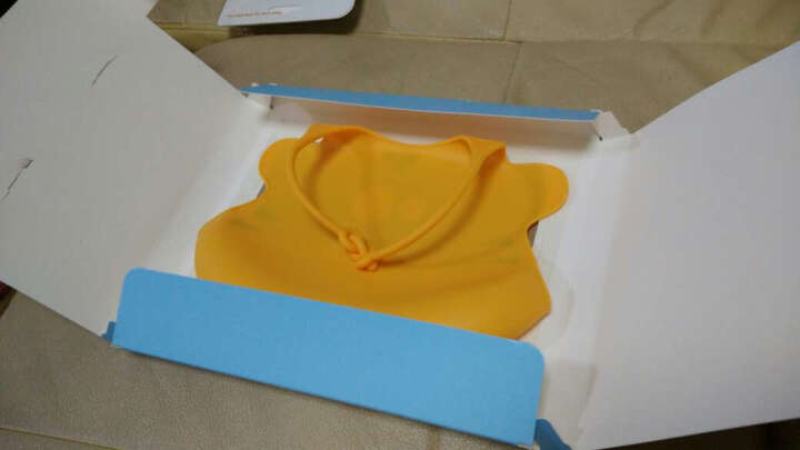 贝儿欣(BABISIL)口水巾 婴儿围兜饭兜 宝宝吃饭围兜 全硅胶防水围嘴 橙色 晒单图