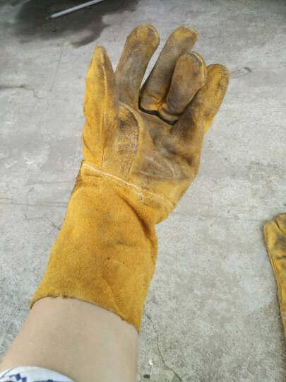 百威狮 耐磨 牛皮 电焊手套 耐高温 隔热 焊工烧焊手套 劳保防护手套 003长款 晒单图