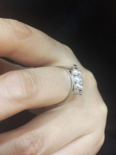 PEARLONA 凝芷兰香 珍珠戒指 S925银镶淡水珍珠戒指 强光近圆淡水珍珠可调节戒指 晒单图