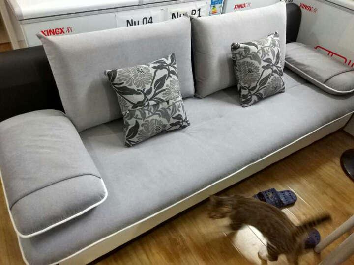 简莎 布艺沙发小沙发 小客厅沙发简约现代沙发组合转角小户型沙发可拆洗L型包邮沙发111 浅灰+深灰 旗舰版三人位+脚踏2.1米送地毯 晒单图