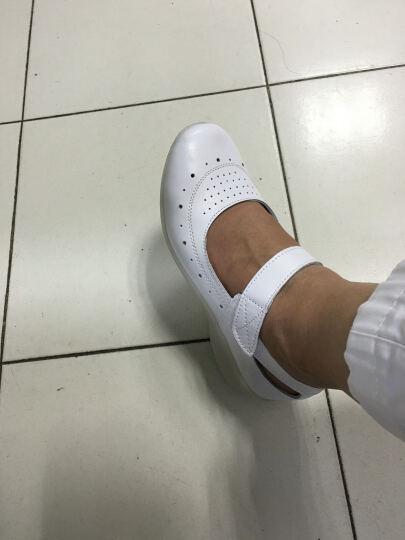 SESDAD护士鞋夏季镂空真皮坡跟白色女搭扣轻便单鞋牛皮沙滩休闲凉鞋4400 4400白色 37 晒单图