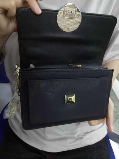 EUNI女包手提包链条金属搭扣单肩包羊皮纹斜跨包女士包包小方包 黑色E941001I1A 晒单图