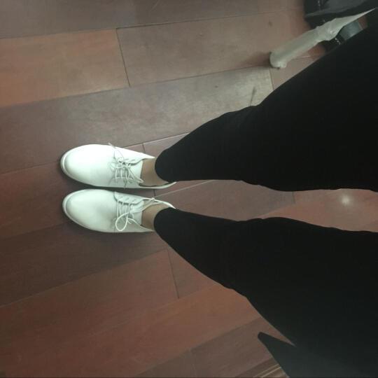 圣诗丹特小白鞋女鞋休闲鞋系带鞋子 女真皮平跟平底小白鞋女平底鞋JQY9915 经典黑 36 晒单图