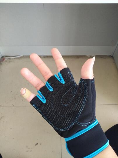 恒冠(HENGGUAN) 恒冠专业运动健身手套男女士耐磨防滑器械半指运动护具加长护腕 兰色 透气耐磨款 中号M(手掌围19-21cm) 晒单图