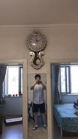 英伦欧堡 客厅挂钟 墙面摆钟  欧式仿实木壁挂表墙钟创意艺术古典钟表 紫宝石款 晒单图