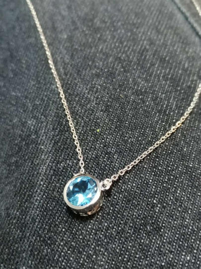 QUN小群时尚 925银项链女吊坠颈链锁骨链 送女友礼物 时尚饰品水晶吊坠 橄榄石 晒单图