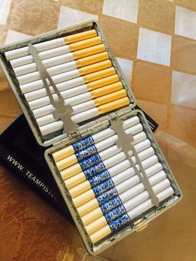 创意超薄烟盒皮 防潮防压金属烟盒20支装薄香烟盒20支复古香烟盒香烟壳烟盒子 复古花纹 晒单图