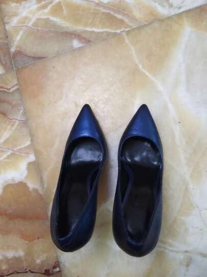GAOZZE高兹摔纹牛皮蓝色珠光时尚高跟鞋女细跟浅口尖头10CM单鞋女鞋 宝石兰 35 晒单图