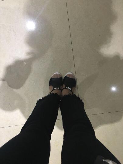 仙宝碟2018女鞋夏季凉鞋女 性感鱼嘴水晶防水台高跟鞋女 时尚休闲拖鞋女 黑色 37 晒单图