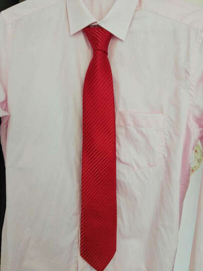 IFSONG 男士领带男正装商务 新郎结婚婚礼婚庆红色大红色酒红色条纹8CM 礼盒装 玫红水波纹KDG096 晒单图