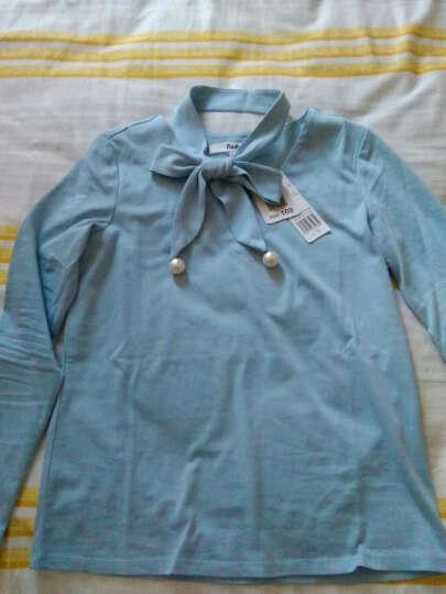 拉夏贝尔puella普埃拉2017春装新款珍珠纯色七分袖T恤女 浅蓝色 S 晒单图