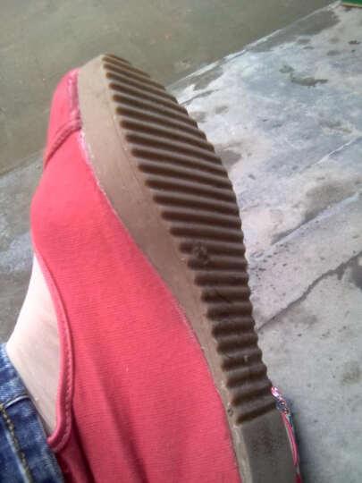 老北京布鞋 女绣花鞋 坡跟民族风女布鞋亚麻面浅口绣花加大号女单鞋 红色 39 晒单图