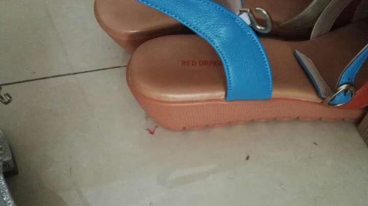红蜻蜓凉鞋 时尚拼接凉鞋休闲女鞋 WNK61601/02/03 蓝色 36 晒单图