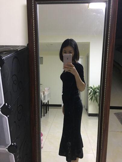 ochirly欧时力新女装纯色全棉高腰荷叶边包臀裙半身裙1HY2032430 黑色090 S(160/66A) 晒单图