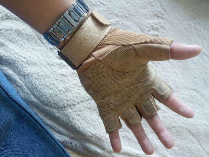 翔游户外黑鹰战术手套户外手套 防滑军迷防割登山格斗运动健身手套军迷用品 沙色半指款(防护板) XL 晒单图