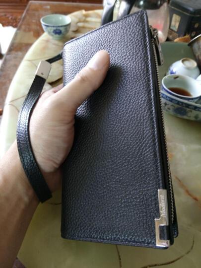摩登鸟钱包男士长款真皮拉链钱夹多卡位大容量牛皮手包休闲商务皮夹108 平纹咖啡色 晒单图