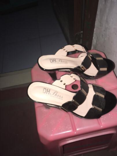 夏季新款凉鞋女鱼嘴性感露趾拖鞋厚底松糕防水台一字凉拖鞋坡跟高跟拖鞋 黑色DH8509 37 晒单图