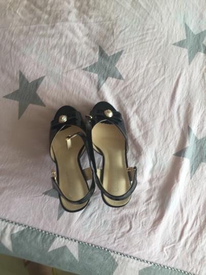 莱卡金顿  凉鞋女2018新款尖头酒杯跟低帮鞋 丁字式扣带单鞋 防水台女鞋 银色 35 晒单图
