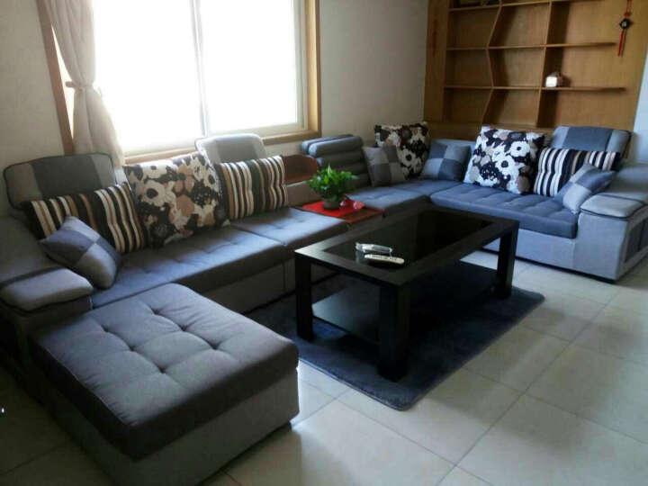 简莎 布艺沙发组合可拆洗大小户型简约现代客厅家具整装U型转角布沙发916 深灰+浅灰 麻布 七件套(舒适版送地毯)4米 晒单图