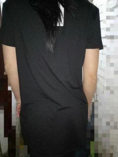 珂蕾娜2017夏季新款修身百搭纯色圆领打底衫中长款短袖T恤女 5827 口红灰色 S 晒单图