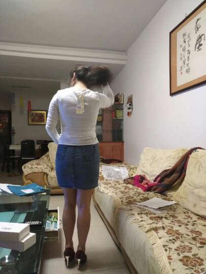 简性2017春款T恤女新品大码长袖T恤女上衣长袖女打底韩版修身显瘦百搭纯色V领 长袖白色 L 晒单图