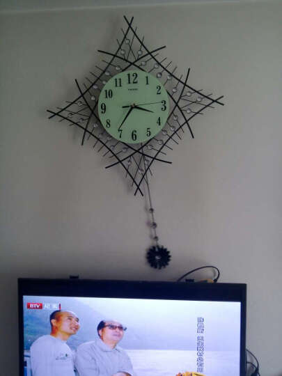 一红 YH1002 时尚个性简约艺术大挂表创意时钟现代钟表挂钟客厅石英钟静音 玻璃夜光款 晒单图