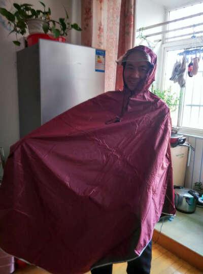备美自行车雨衣单人时尚透明大帽檐单车雨披加厚男女士电动车雨衣 藏青提花 晒单图