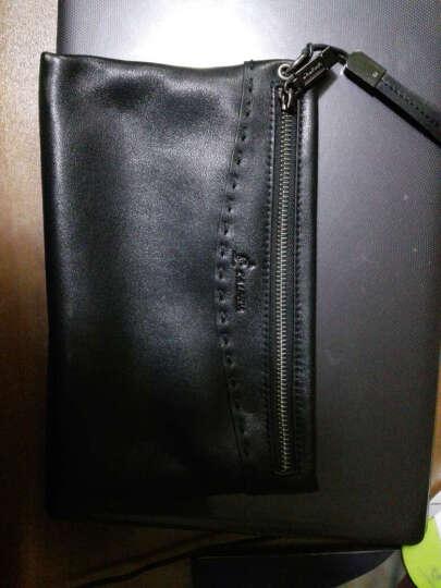 L'ALPINA阿尔皮纳 手包男大容量真皮 商务休闲男士手拿包个性多功能手包简约潮 黑色 晒单图