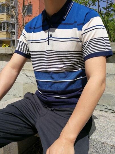 花花公子贵宾 短袖t恤男 撞色翻领商务休闲2017新款 17663/酒红 2XL-120 晒单图