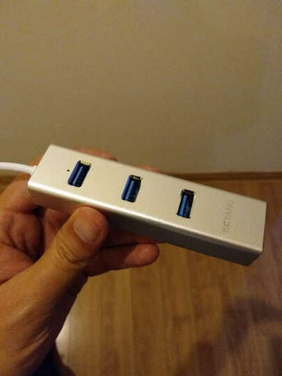 博扬BOYANG BY-UR02 铝合金外壳USB3.0转换器一拖三口分线器 高速外置RJ45网口USB网卡HUB集线器 银色 晒单图