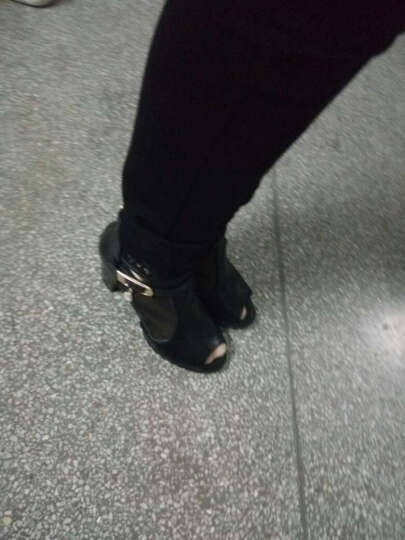 千億多 2017新款韩版蕾丝网纱鱼嘴靴春季透气高跟凉鞋女鞋罗马鞋 白色 36 晒单图