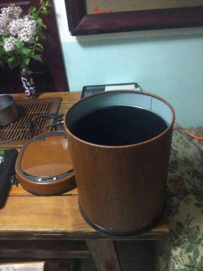 和居家 智能垃圾桶 自动感应家用卧室客厅厨房卫生间不锈钢电动翻盖卫生桶 非洲梨花木(仿木款) 9L 25*25*35cm 晒单图