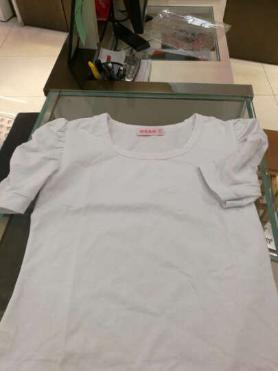 新款季新款时尚百搭内搭打底衫纯棉女装短袖T恤 修身打底衫女泡泡袖耸肩T恤 白色 XXL 晒单图