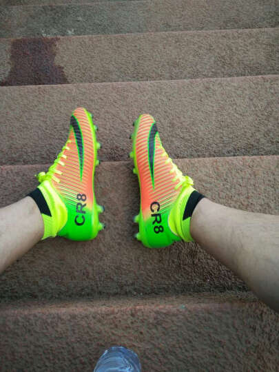 【送球袜】豹步新款成人足球鞋儿童皮足男碎钉人工草地训练长钉童鞋 616-2蓝色 42 晒单图