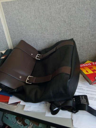 帕迪欧双肩包男包配皮商务电脑包休闲旅行书包男大容量韩版潮牛皮男士背包电脑包15.6寸 黑色小号 晒单图
