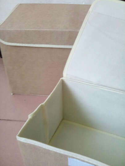 点魅 仿麻收纳箱两件套衣服整理箱子大小号 带盖收纳盒储物箱 折叠百纳箱 米黄色 晒单图