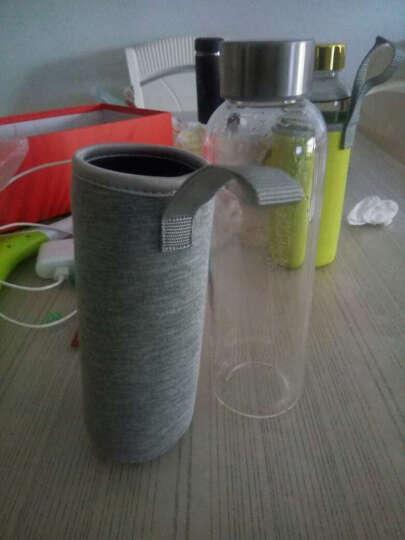 天喜(TIANXI)玻璃杯 男女便携创意茶水杯泡茶杯 带杯套 550ML银灰套 晒单图