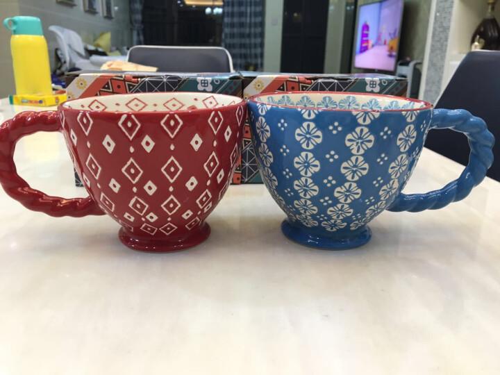 JOYYE 马克杯 咖啡杯子情侣陶瓷杯懒人大容量牛饮水杯茶杯经典粗麻花复古创意牛奶杯 单品花样年华C把杯-蓝 晒单图